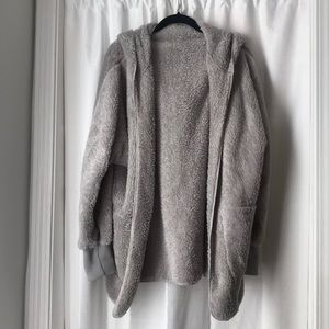 Gray Soft Fuzzy Hooded Jacket